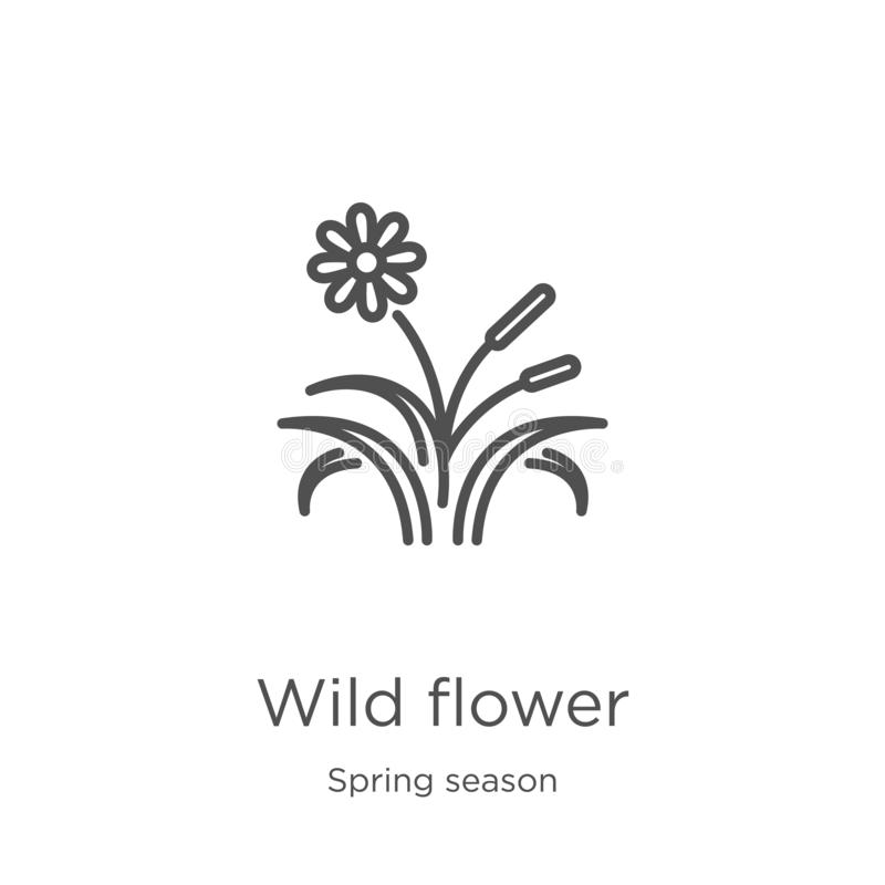Wild flower icon vector from spring season collection. Thin line wild flower outline icon vector illustration. Outline, thin line. Wild flower icon. Element of vector illustration