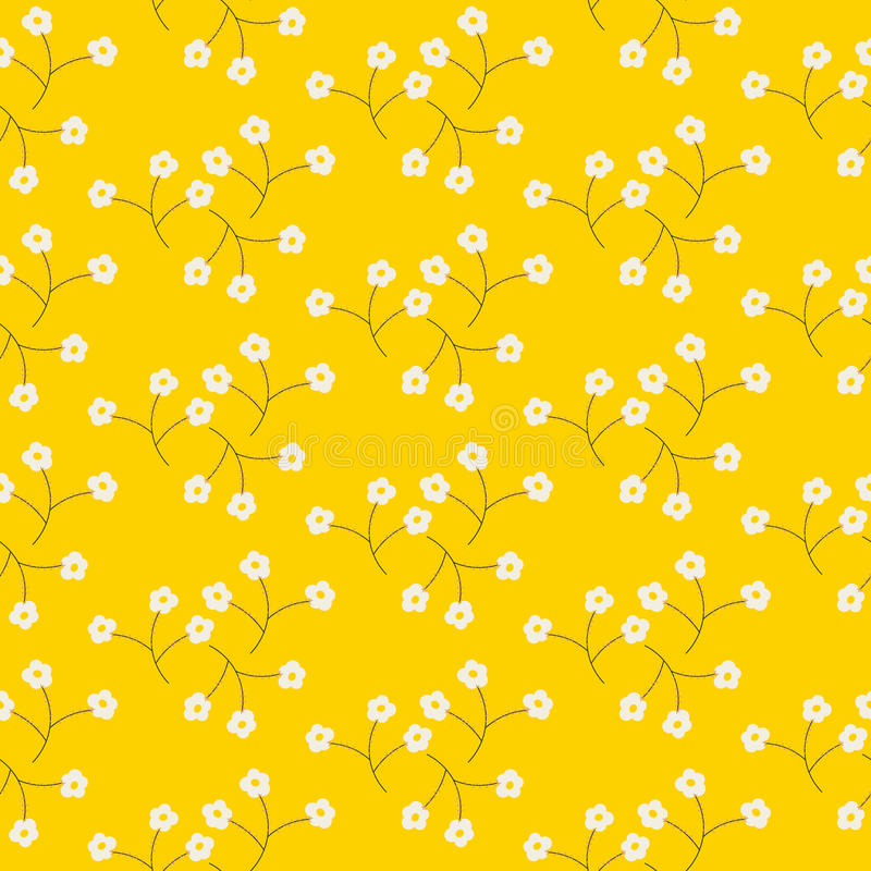 Wild flower light tender white spring field seamless pattern. royalty free illustration