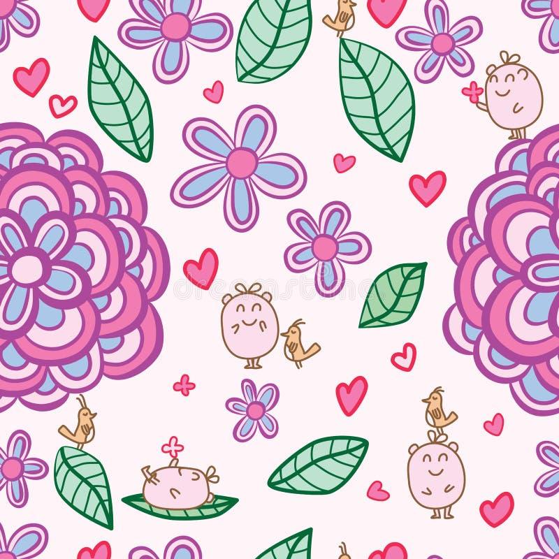 Wild flower mascot bird play seamless pattern stock illustration
