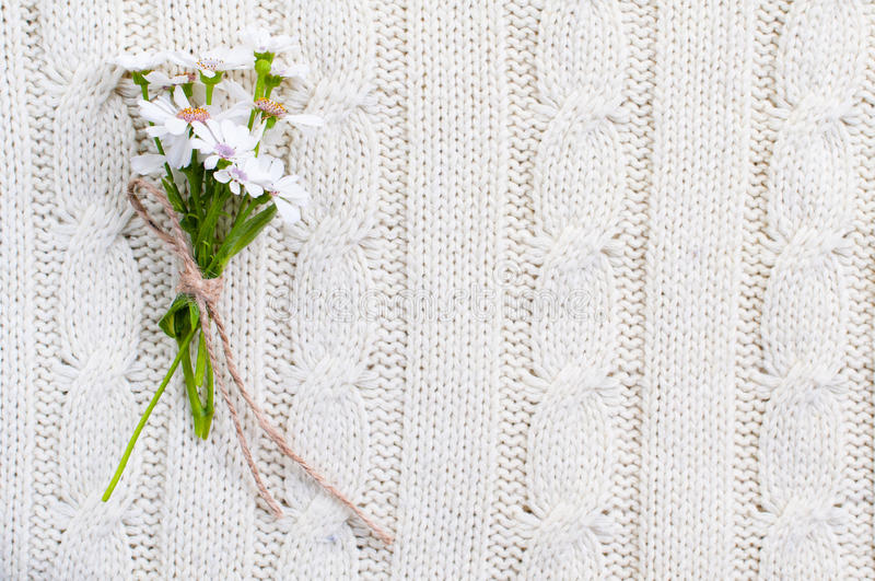 Download Wild Flowers On A Beige Knitted Texture Stock Image - Image: 23396497