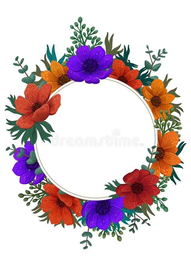Wild flowers circle frame. Color pencil digital illustration. Vertical Design with beautiful anemones and copy space for stock illustration