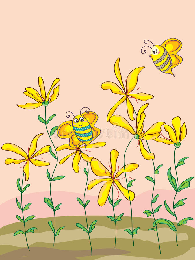 Wild Flowers Cute Bee_eps Stock Photography