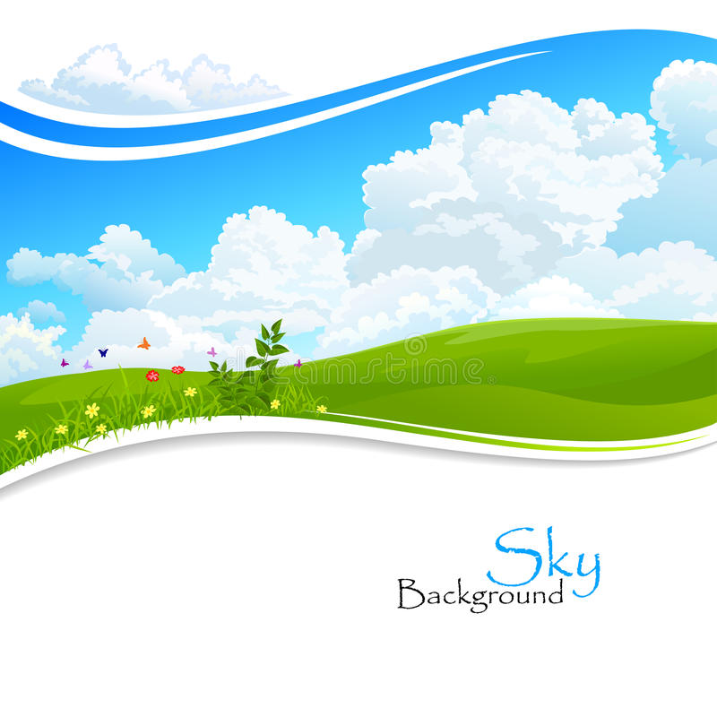 Wild flowers , Green hills and Blue Sky. Enjoy -Wild flowers , Green hills and Blue Sky for your creative needs royalty free illustration