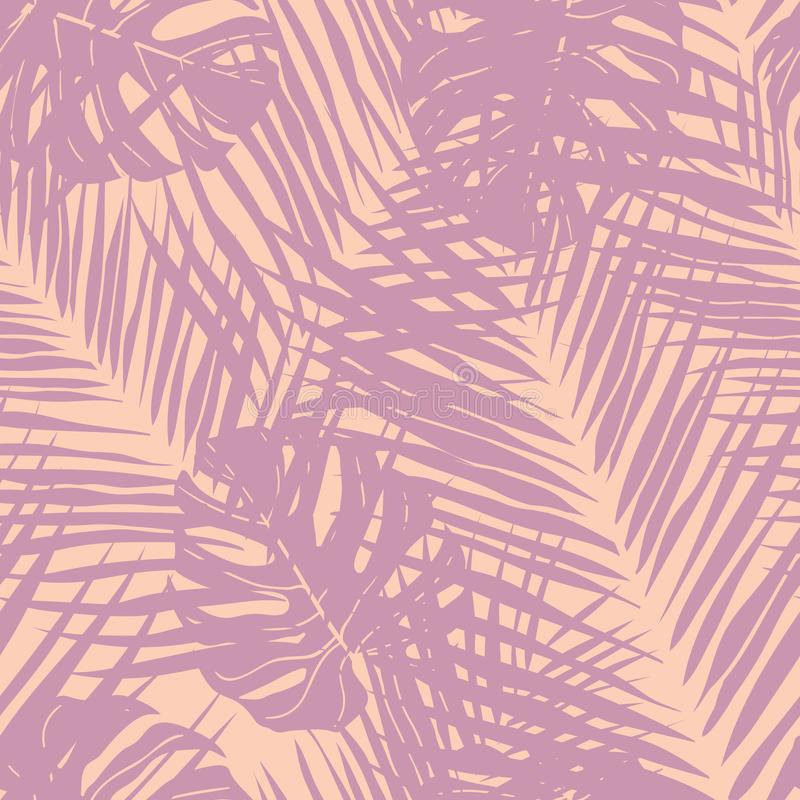 Cute tropical leaves seamless pattern design royalty free stock images