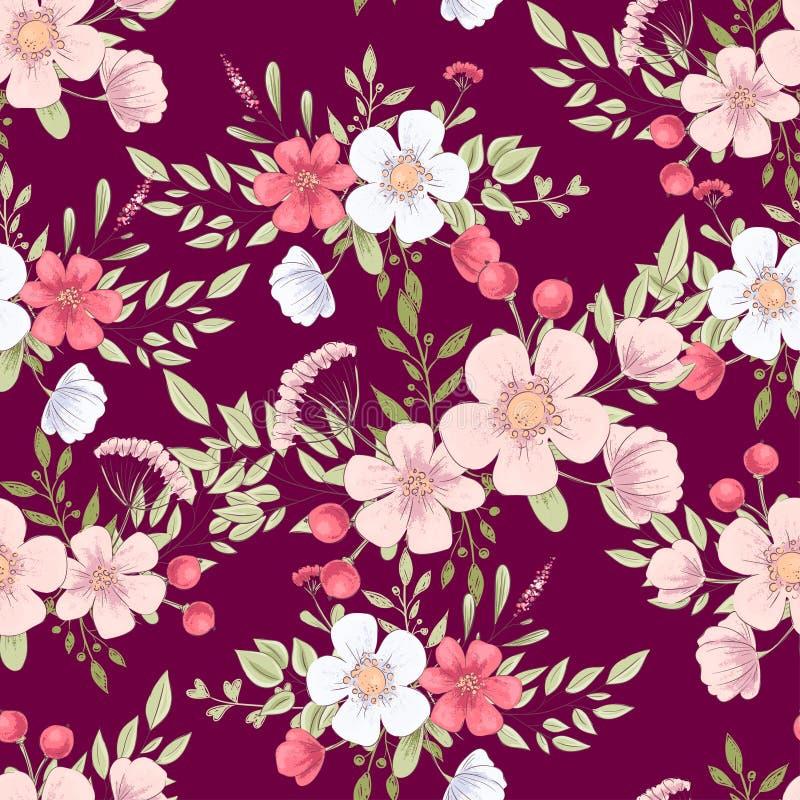 Wild flowers seamless pattern. Hand drawing Vector illustration stock illustration