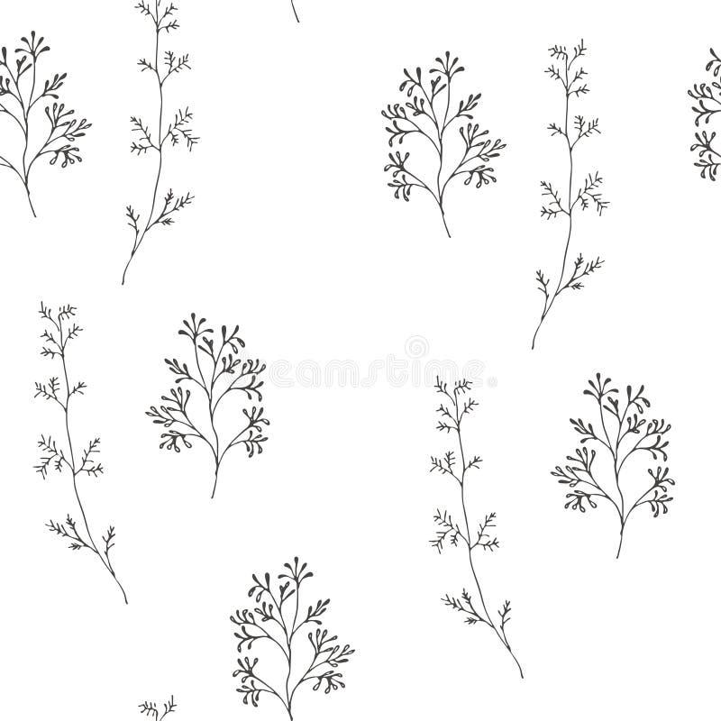 Wild flowers vector pattern royalty free illustration