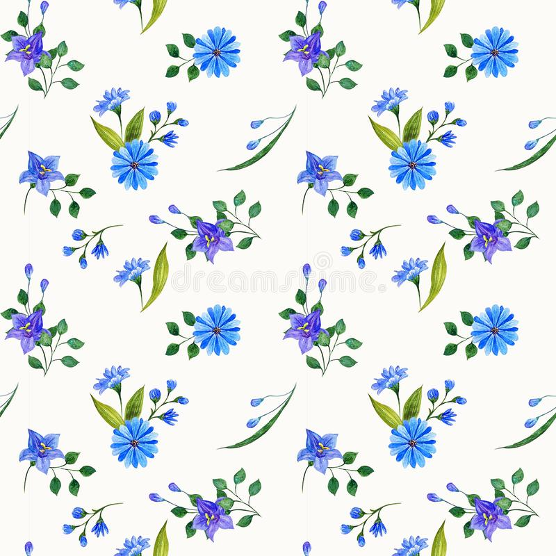 Wild flowers watercolor compositions. Seamless pattern. Design for textiles, wrapping, wallpaper, porcelain, cloth, fabric, invitation, wedding or greeting stock illustration
