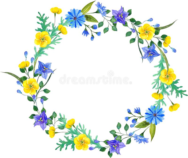 Wild flowers watercolor compositions. Wreaf frame. Wild flowers watercolor compositions. Wreath frame. Perfect for textiles, wrapping, wallpaper, porcelain royalty free illustration