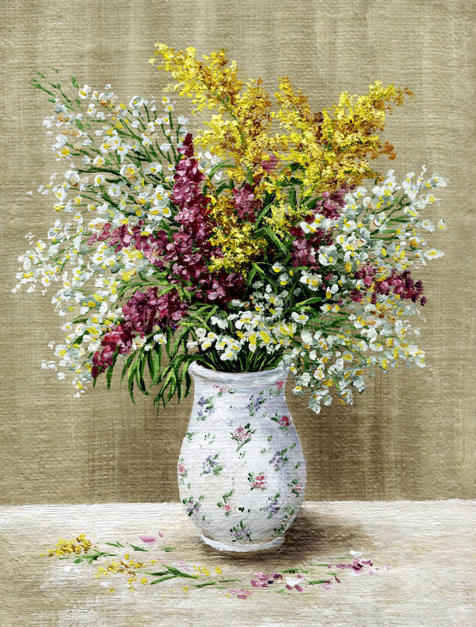 Wild flowers in a white vase royalty free stock photography