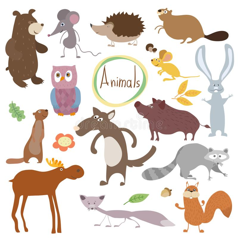 Bitmap forest animals. Wild and forest bitmap animals isolated in white background. Cartoon characters illustration. Funny Animal royalty free illustration