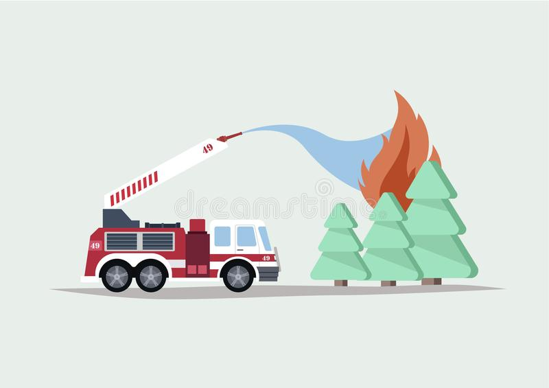 Wild Forest Fire. Flat Vector Illustration of a Fire Engine Fights with a Wild Forest Fire royalty free illustration