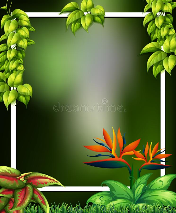 Wild Forest with Flowers Green Template vector illustration