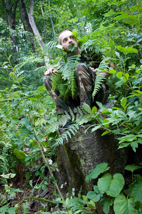 Wild forest man stock photography