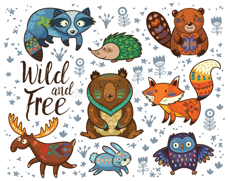 Wild and free. Woodland tribal animals vector set royalty free illustration