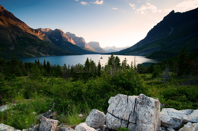 Wild goose island. Glacier National Park. Montana royalty free stock photography