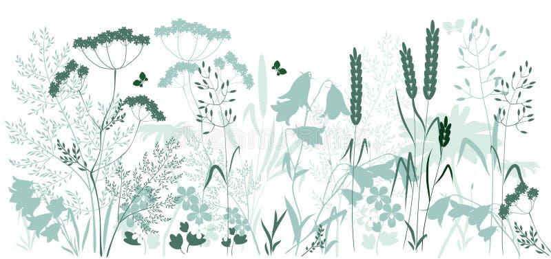 Wild gräs och en fjäril stock illustrationer