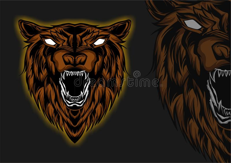 Animal Wild Grizzly Bear Anger Head Front View stock photos
