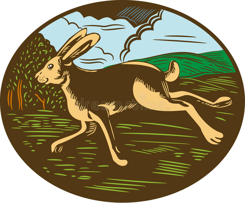 Wild Hare Rabbit Running Oval Woodcut. Illustration of a wild hare bunny rabbit running viewed from side with farm trees and mountains in background set inside stock illustration