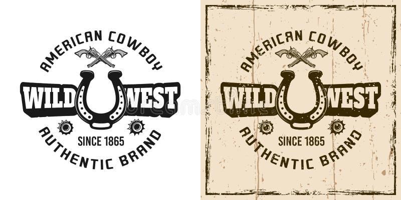 Wild het westen vector retro embleem, kenteken, etiket, embleem vector illustratie
