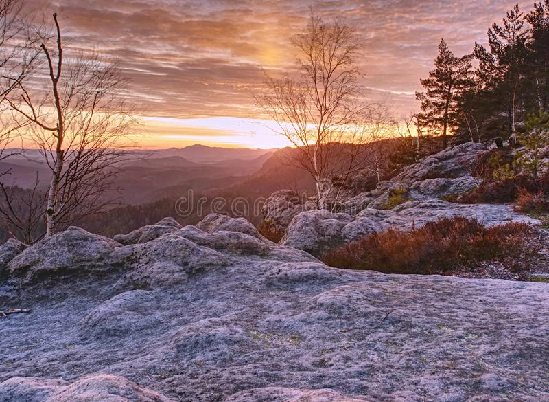 Wild hilly landscape. Early misty morning in beautiful rocks. Pink morning in wild hilly landscape. Early misty morning in beautiful rocks. Peaks of hills in stock photos