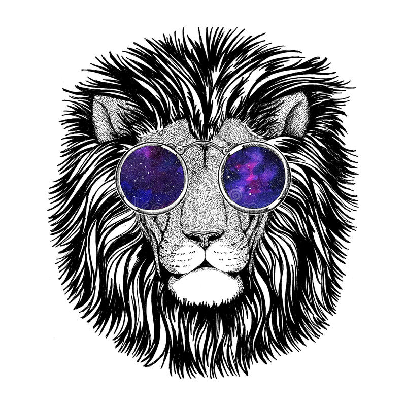 Wild hipster lion Image for tattoo, logo, emblem, badge design. Picture for tattoo, logo, emblem badge design vector illustration