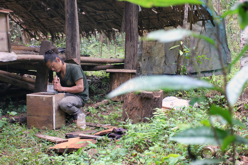 Wild honey bio cultivated in jungle - beehive maker. Beehive maker at work for producing the wild honey bio, cultivated within jungle, by a village of East Asia stock photography