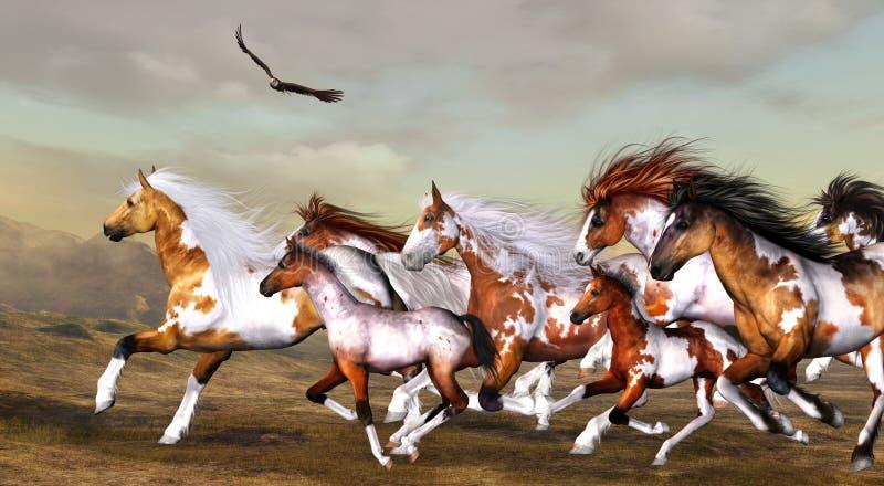 Wild horses. 3d render of wild horses