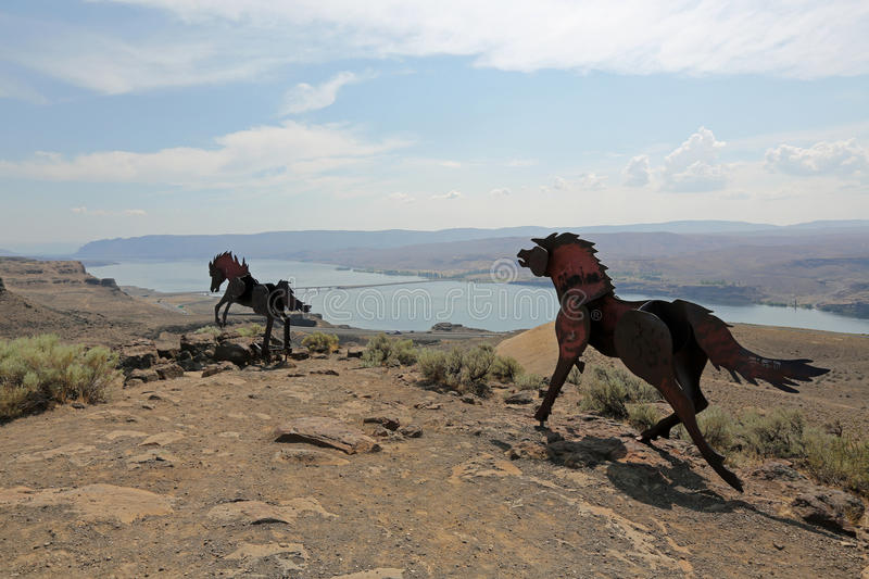Download Wild Horses Monument stock photo. Image of hillside, culture - 26151338