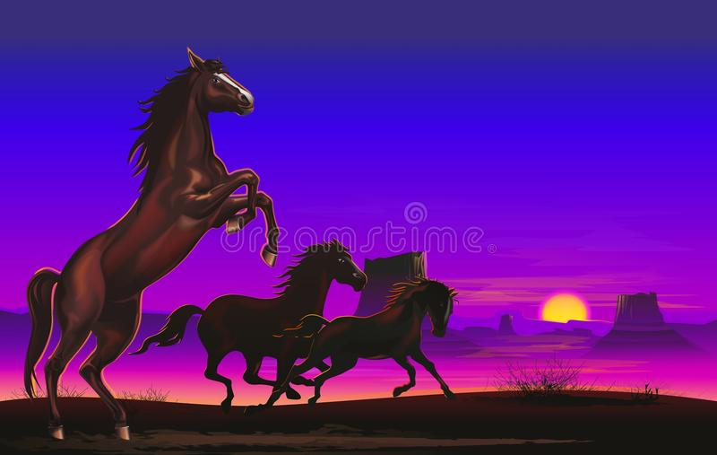 Wild Horses on the Prairie. Three Wild Horses on the American Prairie Illustration. Wild Arizona Landscape stock illustration