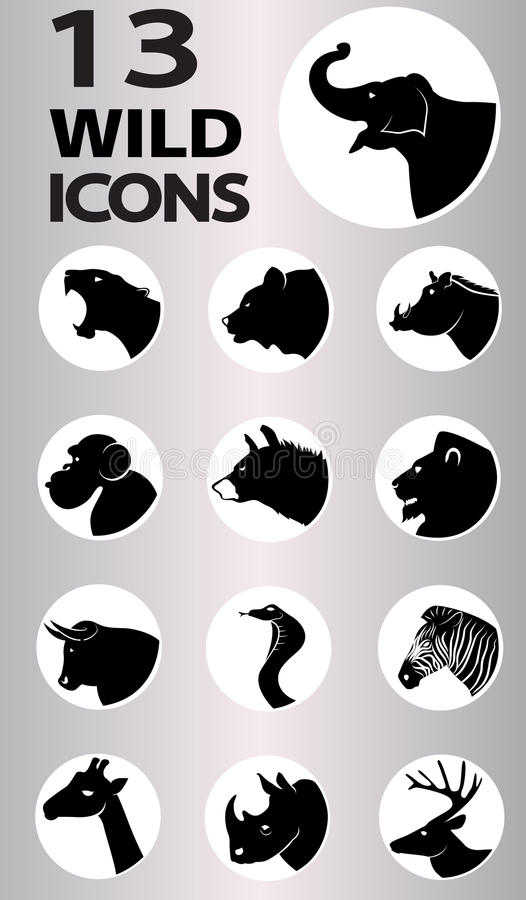 Wild icons collection. Wild icon collection. Vector format stock illustration