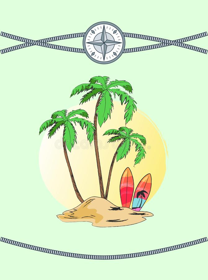 Wild Island with Three Plams Vector Illustration. Wild island with three palms, vector illustration with cute palm tree pattern on surfboard, intersecting stock illustration