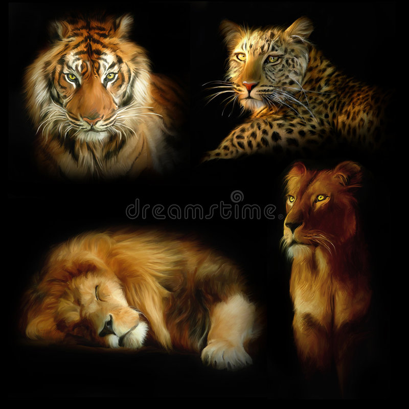 wild katter vektor illustrationer