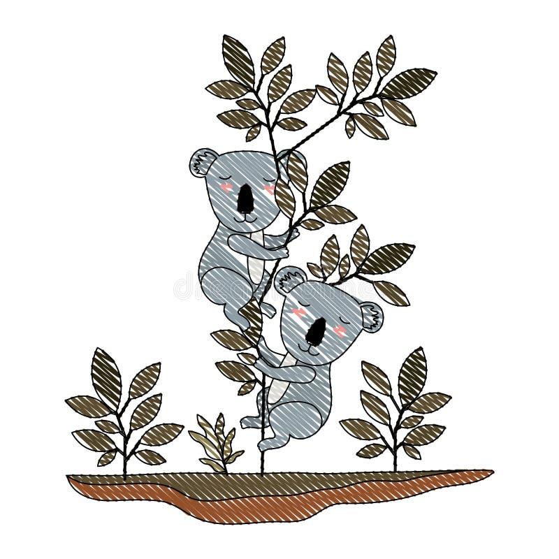 Wild koala'spaar in de wildernis vector illustratie