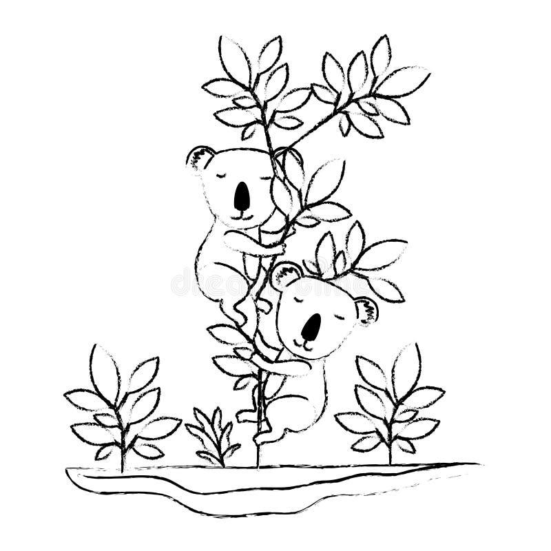 Wild koalas couple in the jungle vector illustration