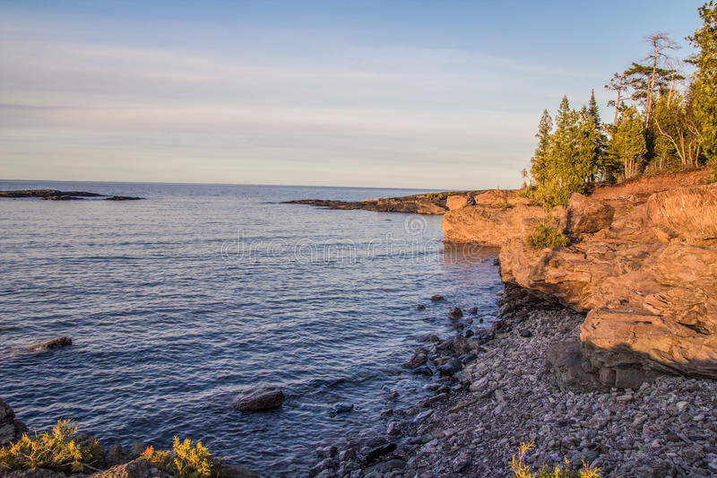 Wild Lake Superior Coast. The shores of beautiful Lake Superior in Marquette, Michigan royalty free stock photos