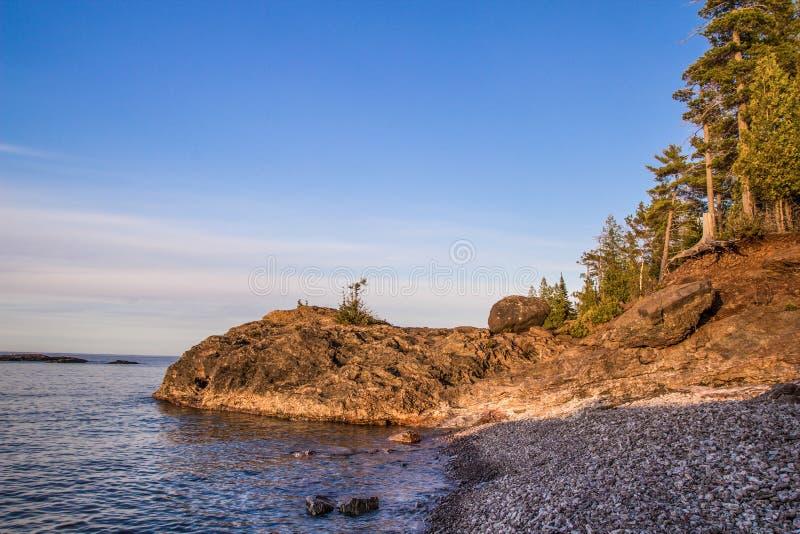 Wild Lake Superior Coast. The shores of beautiful Lake Superior in Marquette, Michigan stock photo