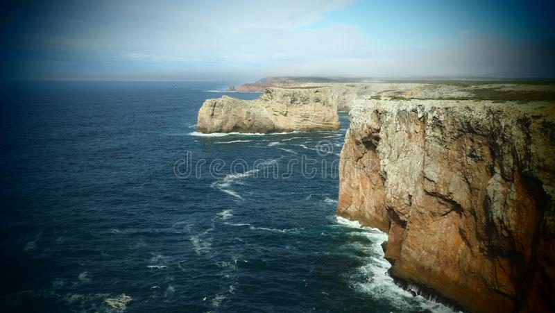Seascape with Cliffs near Sagres, Portugal royalty free stock photography