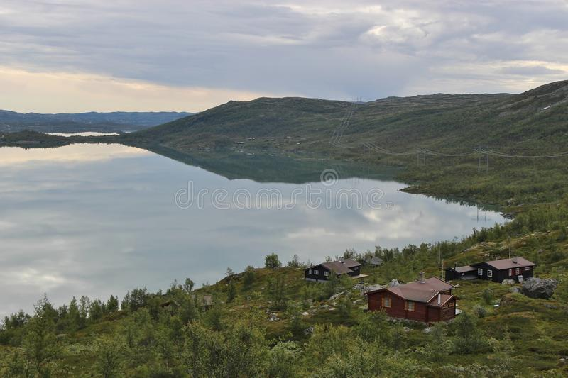 Wild landscape in Norway, Europe, in summer. In the region Hallingdal, near Hagafoss and Geilo, a well-known ski resort stock photography