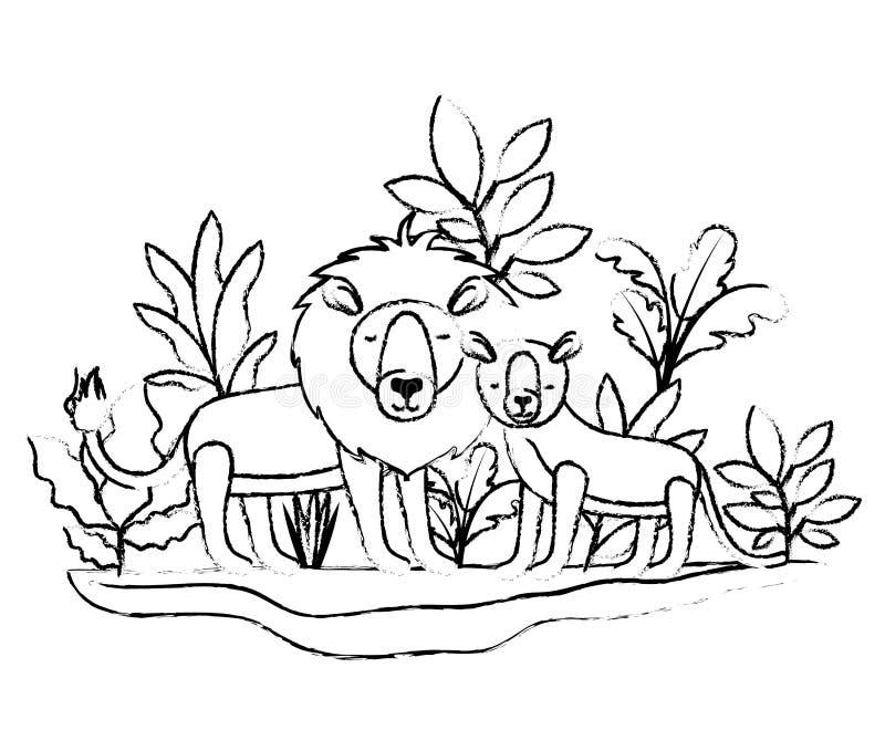 Wild leeuwenpaar in de wildernis vector illustratie