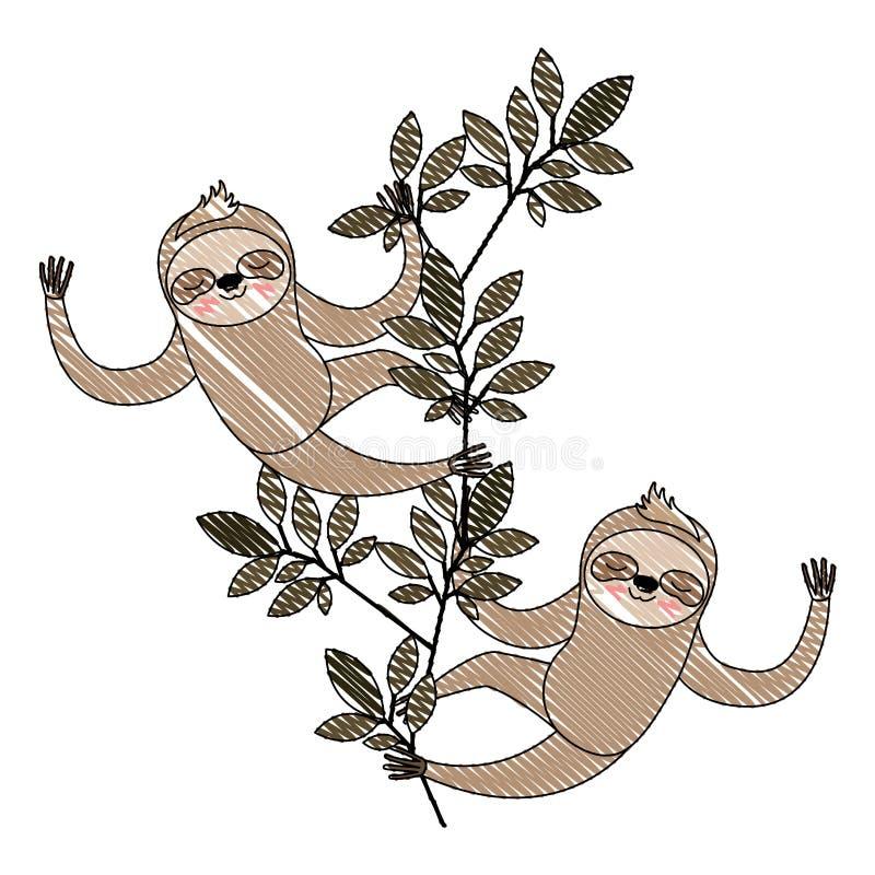 Wild luiaardenpaar in de wildernis vector illustratie