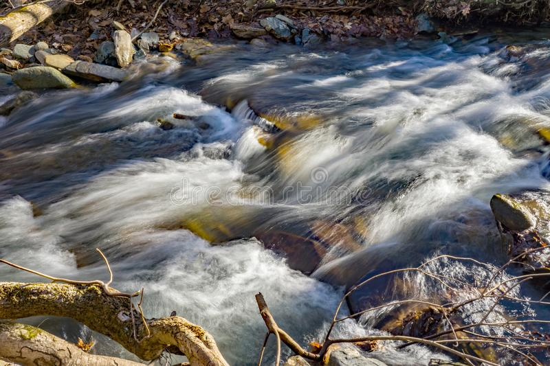 Wild Mountain Trout Stream and Shadows. Wild mountain trout stream in the shadows located in the Rock Castle Gorge located in the Blue Ridge Mountains in Floyd stock image
