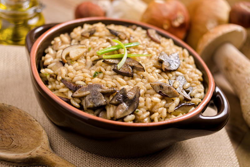 Wild Mushroom Risotto royalty free stock images