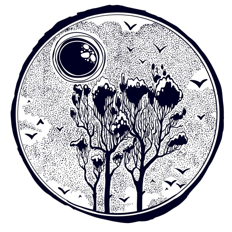Wild nature landscape with tall trees, snowy sky, birds and sun or moon. Wild nature dotwork landscape with tall trees, snowy sky, birds and sun or moon. Hand vector illustration