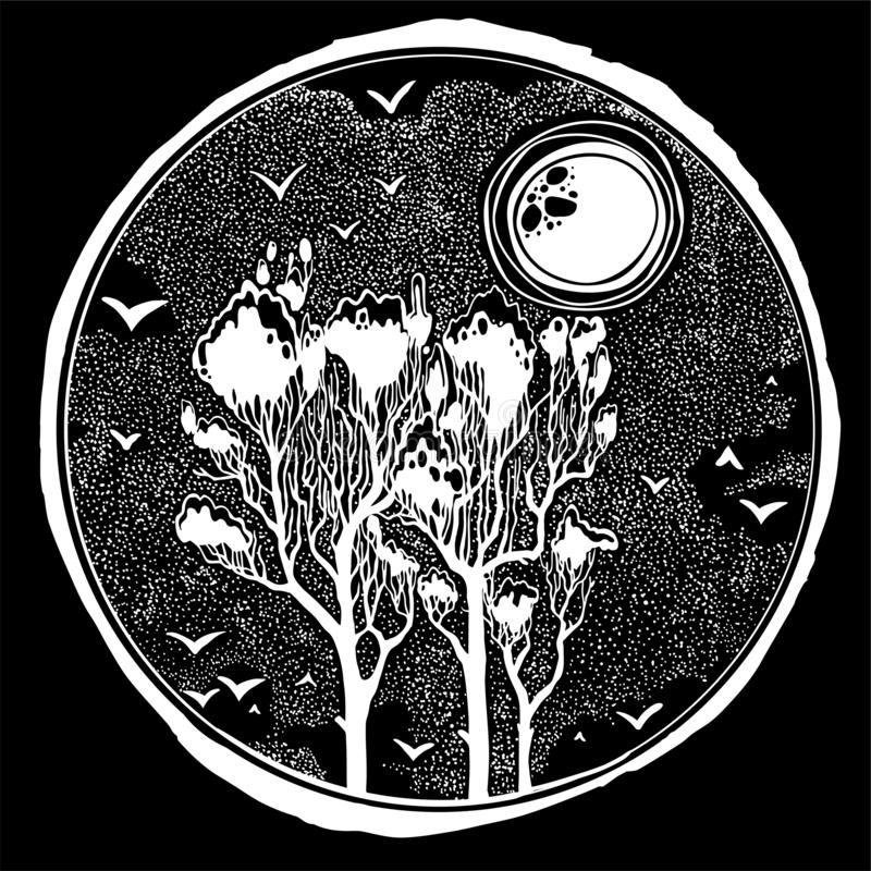 Wild nature landscape with tall trees, snowy sky, birds and sun or moon. Wild nature dotwork landscape with tall trees, snowy sky, birds and sun or moon. Hand stock illustration