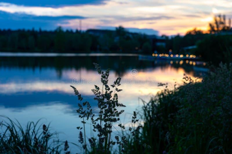 Wild nature next to the Calm lake called Csonakazo Lake in Szombathely Hungary at dusk after sunset blurred restaurant backgrund. Sunset stock photo