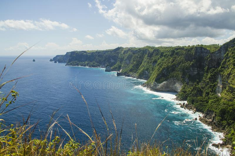The wild nature of Nusa Penida Island stock photo
