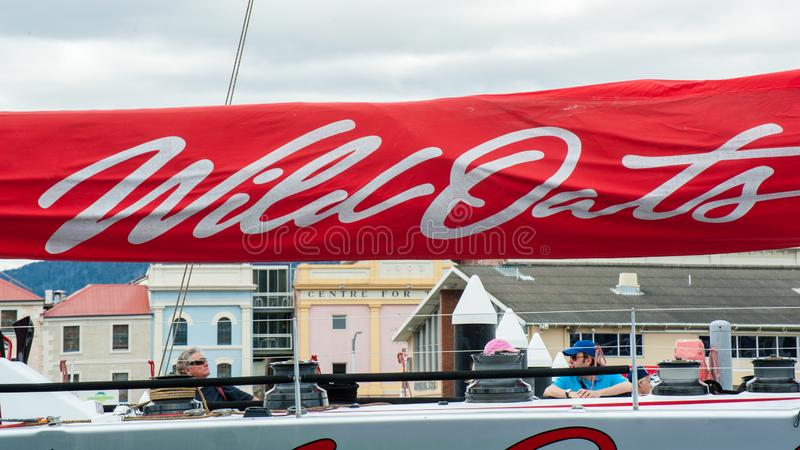 Wild Oats XI 11 record breaking win in the Sydney to Hobart Yacht Race - state of the art maxi, sail furled close up stock photo