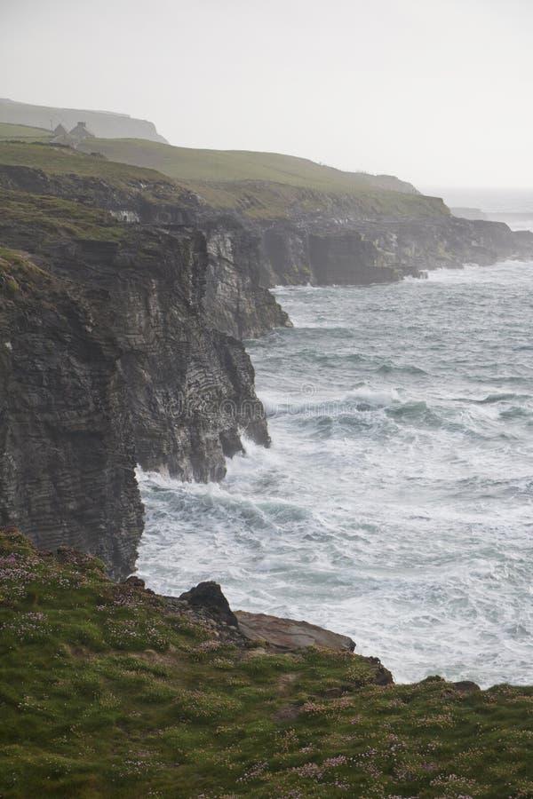 Wild ocean waves along Burren Way, near Doolin royalty free stock images