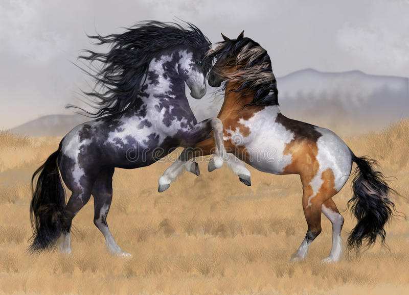 Wild och frigör för fantasihästen för två hingstar kortet för hälsningen för konst royaltyfri illustrationer