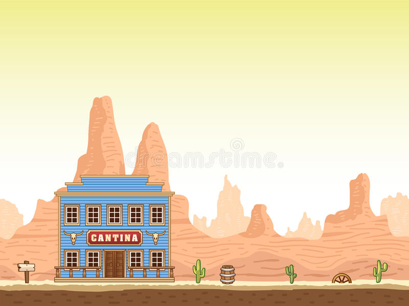 Wild, old west canyon background with cantina vector illustration